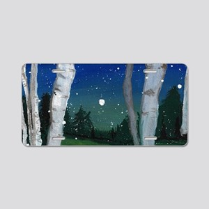 Birch Trees in Snow Aluminum License Plate
