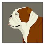 "Bulldog Profile Square Car Magnet 3"" x 3"""