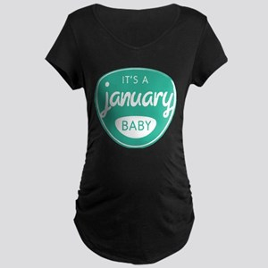 Seafoam It's a January Baby Maternity Dark T-Shirt