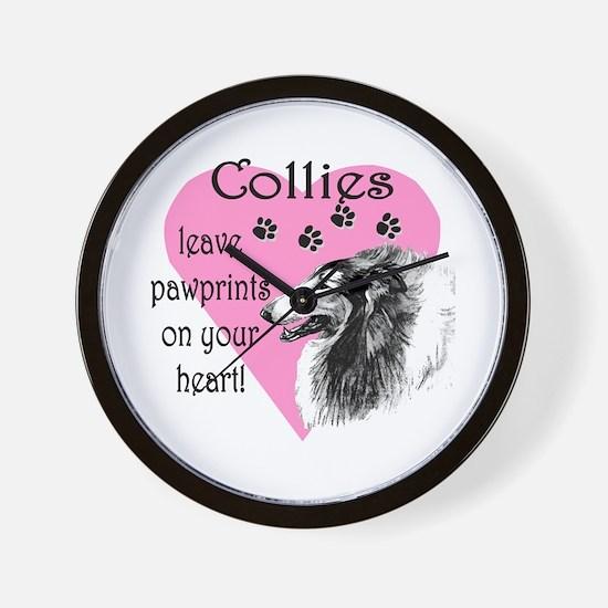 Collie Pawprint Heart Wall Clock