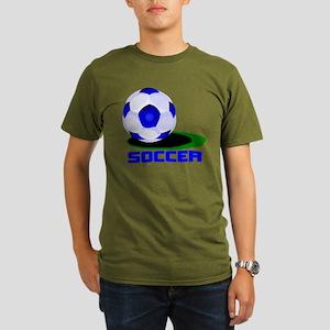 Soccer Ball Blue Organic Men's T-Shirt (dark)
