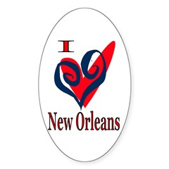 I Love New Orleans Oval Decal