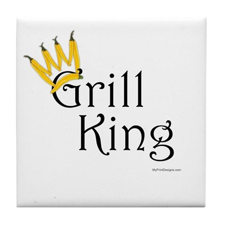 Grill King (yellow pepper crown) Tile Coaster