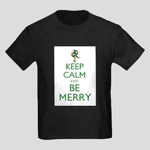 Keep Calm and Be Merry Kids Dark T-Shirt