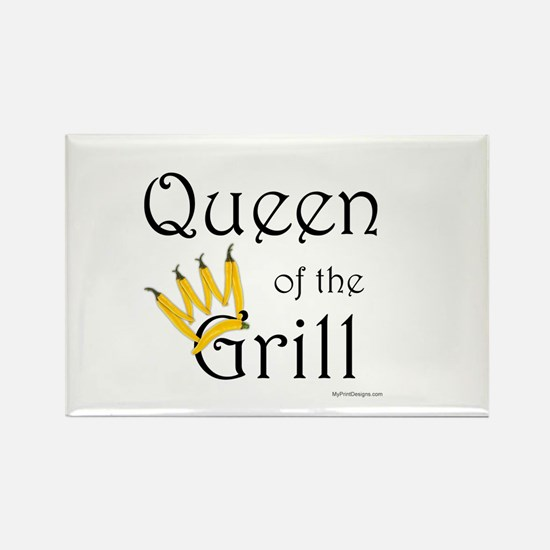 Queen of the Grill (pepper crown) Rectangle Magnet