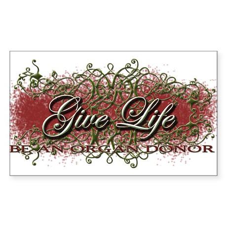 Give Life Vine Design Rectangle Sticker