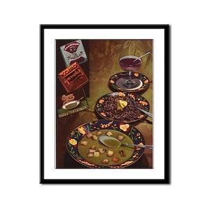 Vintage Russian Meal Framed Panel Print