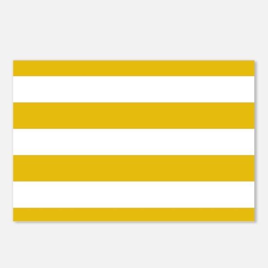 Mustard Yellow Horizontal Stripes Postcards (Packa