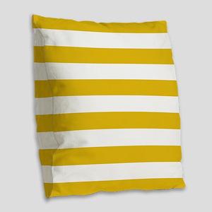 Mustard Yellow Horizontal Stripes Burlap Throw Pil
