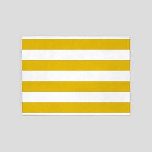 Mustard Yellow Horizontal Stripes 5'x7'Area Rug