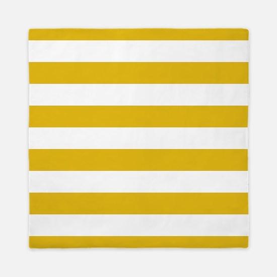 Mustard Yellow Horizontal Stripes Queen Duvet