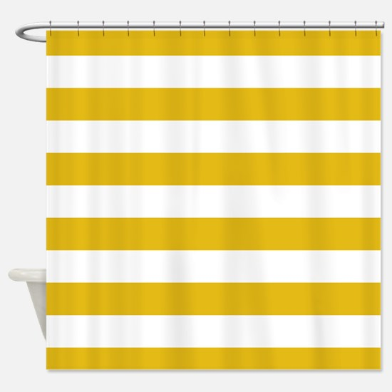 Mustard Yellow Horizontal Stripes Shower Curtain