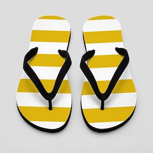 Mustard Yellow Horizontal Stripes Flip Flops