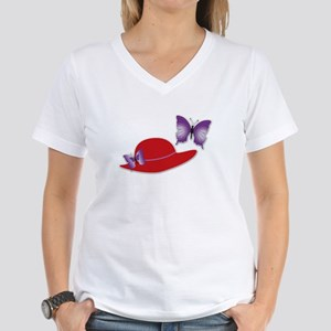 Red Hat Butterfly Women's V-Neck T-Shirt White