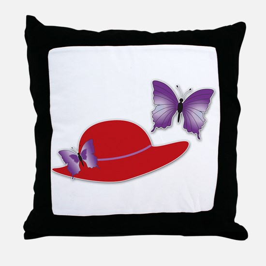 Red Hat Butterfly Throw Pillow