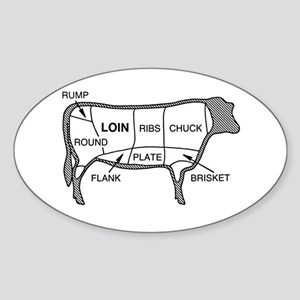 Beef Diagram Oval Sticker