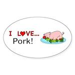 I Love Pork Sticker (Oval 10 pk)