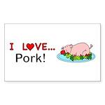I Love Pork Sticker (Rectangle 10 pk)