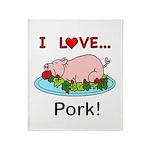 I Love Pork Throw Blanket