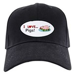 I Love Pigs Black Cap with Patch