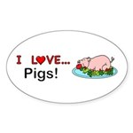 I Love Pigs Sticker (Oval 10 pk)
