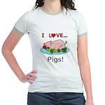 I Love Pigs Jr. Ringer T-Shirt