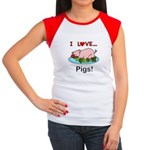 I Love Pigs Junior's Cap Sleeve T-Shirt