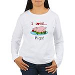 I Love Pigs Women's Long Sleeve T-Shirt