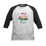 I Love Pigs Kids Baseball Tee