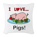 I Love Pigs Woven Throw Pillow