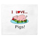 I Love Pigs King Duvet