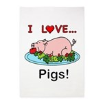 I Love Pigs 5'x7'Area Rug