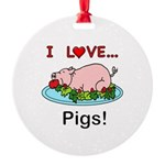 I Love Pigs Round Ornament