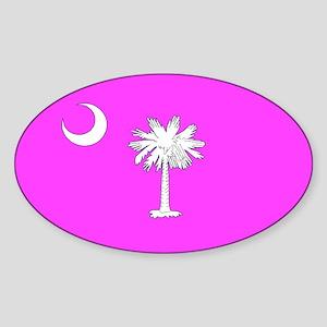 Pink South Carolina Flag Oval Sticker