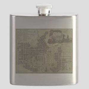 Vintage Map of Baltimore Maryland (1805) Flask