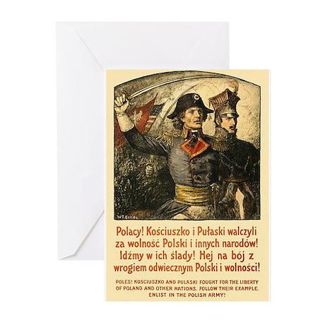 Benda Kosciuszko/Pulaski Greeting Cards (Pk of 20)