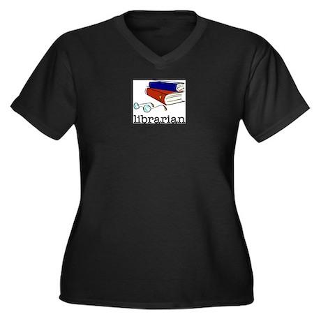 LIBRARIAN Women's Plus Size V-Neck Dark T-Shirt