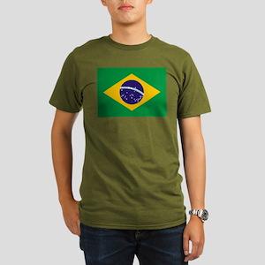 Brazil Flag Organic Men's T-Shirt (dark)