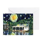 Starry Night River Camp Christmas Cards