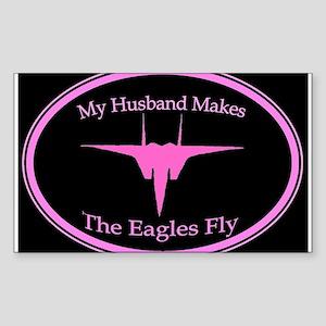 F-15 Husband, Black/Pink Rectangle Sticker