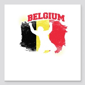 "Football Worldcup Belgiu Square Car Magnet 3"" x 3"""