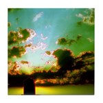 Peaceful Clouds & Sun Ceramic Tile Coaster /Tr
