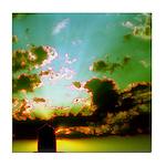 Peaceful Clouds & Sun Ceramic Tile Coaster /Tr