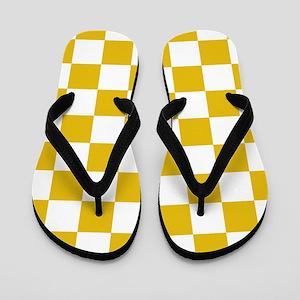 Mustard Yellow Checkers Pattern Flip Flops