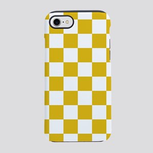 Mustard Yellow Checkers Patter iPhone 7 Tough Case