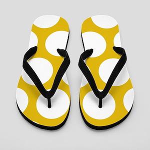 Mustard Yellow Large Polka Dots Flip Flops