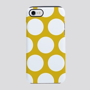 Mustard Yellow Large Polka Dot iPhone 7 Tough Case