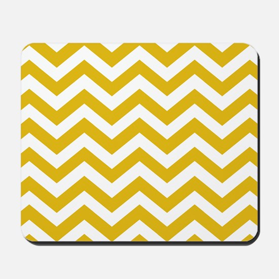 Mustard Yellow Chevron Pattern Mousepad
