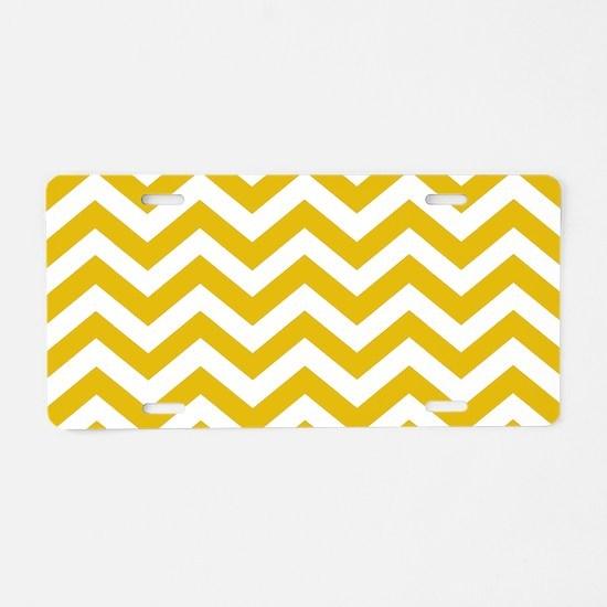 Mustard Yellow Chevron Patt Aluminum License Plate