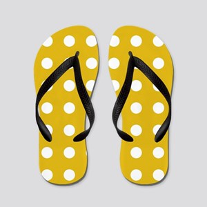 Mustard Yellow Polka Dots Flip Flops